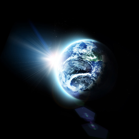 sunlight earth:  blue  planet earth  in space.