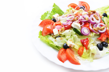 greek salad: salad with feta cheese and fresh vegetables