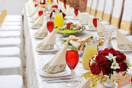 Wedding Reception Tableware And Food Waiting For Guests Photo