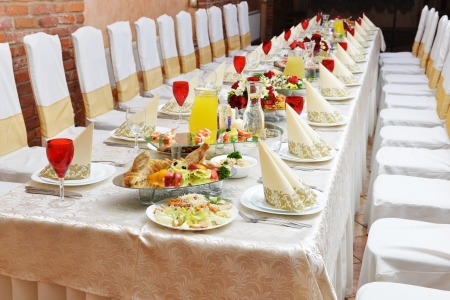 Wedding Reception Tableware And Food Waiting For Guests Stock Photo