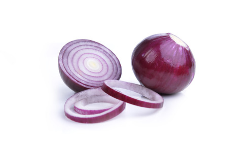sliced red onions on  white background photo