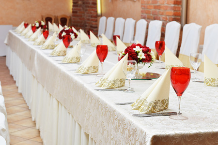a marriage meeting: Wedding reception place ready for guests. Stock Photo
