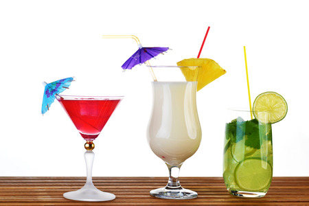 Collection of cocktail drinks in special goblets Stock fotó