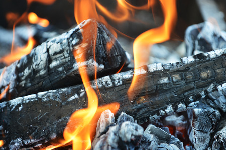 Burning down fire. embers and ashes