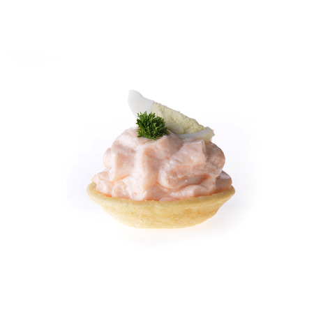 tartlet: tartlet with cream, egg and dill
