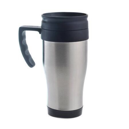 insulated drink container: Stainless steel mug on  white background Stock Photo
