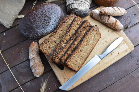 sprouted: sliced bread of sprouted grain and seed Stock Photo