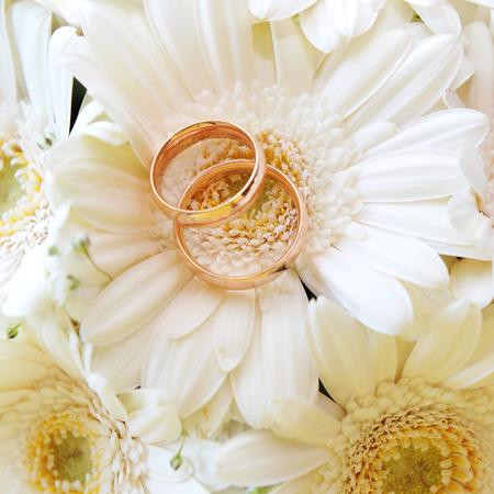 anillos de matrimonio: ramo de gerberas blancas y los anillos de bodas de oro Foto de archivo
