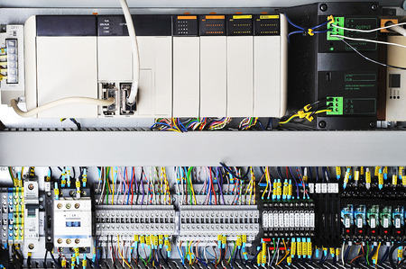 electrical component: Electronics control systems  in box  in industry. Stock Photo