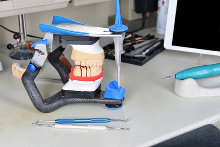 prothetic: gypsum model of jaw and basic dentist tools