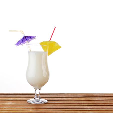 colada: alcoholic cocktail pina colada in glass