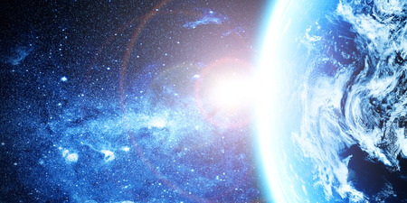 earth from space: blue  planet earth  in space. Stock Photo