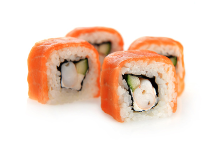 sushi met zalm op een witte achtergrond Stockfoto