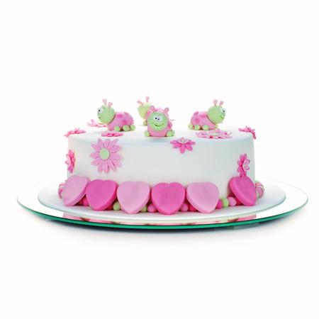 torta de cumpleaños: pastel de cumpleaños con glaseado blanco y mariquitas