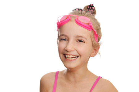 swimming costume: Cute  girl swimmer in  swimming costume and goggles