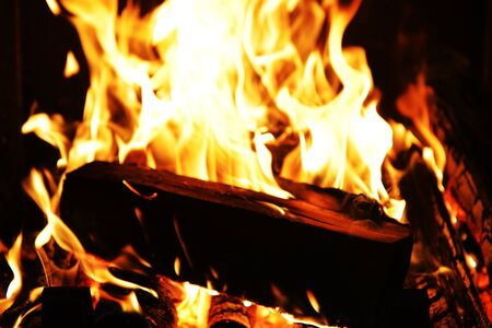 fireplace: fire in fireplace close up Stock Photo