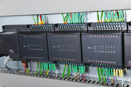 isolator switch: New control panel with electrical equipment Stock Photo