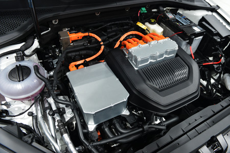 Car with open hood.car engine details Stock Photo