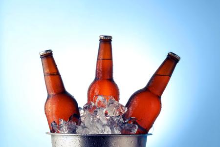 condensacion: Three brown beer bottles in ice bucket with condensation