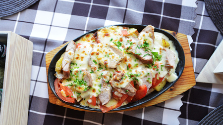dinners: steamed vegetables with cheese and meat