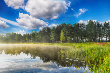 summer landscape. blue sky, clouds and water Stock Photo