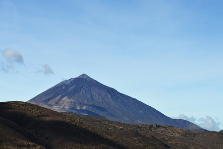 sky above top of the volcano. Mountain landscape