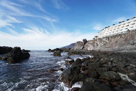 rocks and stony coast. Sea landscape