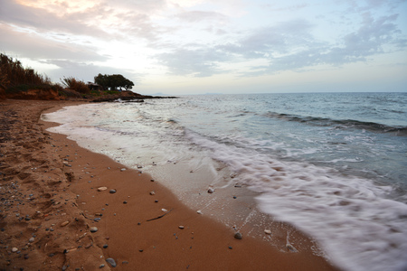 beach on sea shore. sea wave, sand Stock Photo