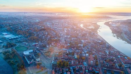 sunrise over city. morning landscape Stock Photo
