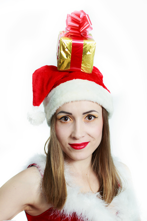 ttractive: Santa Claus Girl on a white background