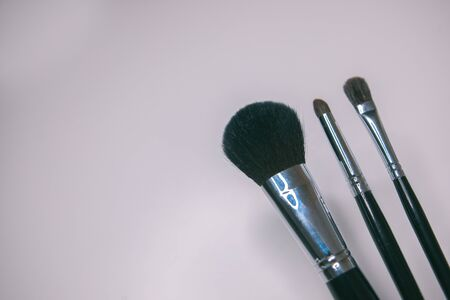 Makeup brushes set on white background  is ready for a your text