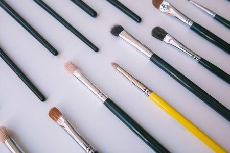 Brush composition on white background