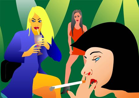 night suit: Intime talking between women in night club - persons are imagination