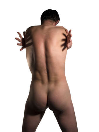 Muscular naked man torso with  Stock Photo