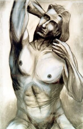Naked male torso , handiwork - this person is not exist, it is imagination Stock Photo - 331195