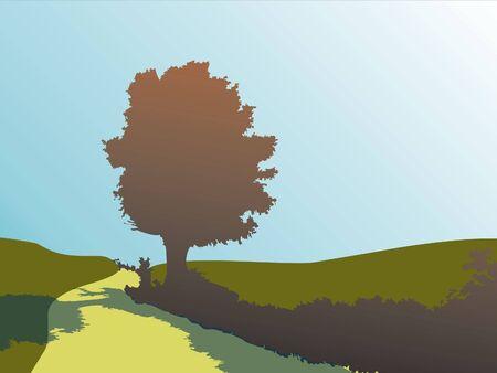 Silhouette of oak tree in autumn Stock Photo - 333881