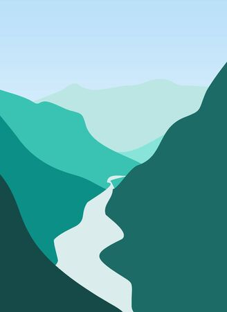 cascade mountains: Illustration of mountain and river