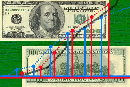initiatives: Chart money diagram of american dollars