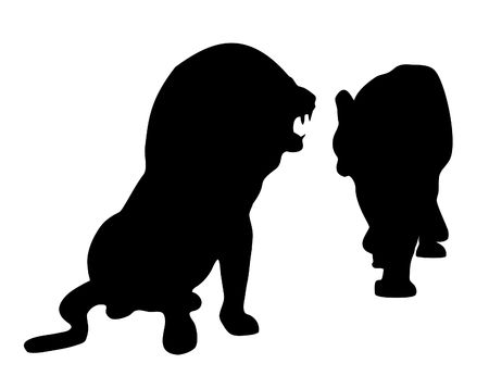 closeness: Silhouette of lions