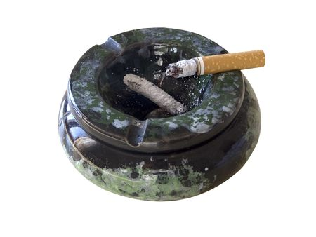cinders: Cigar and ash-tray on white isolated backgrounds Stock Photo
