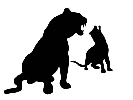 Silhouette of leopards Stock Photo - 344867