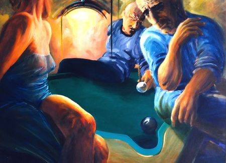 to exist: In night billiards club - imagination if night life, persons are not exist, I am author of this image Stock Photo