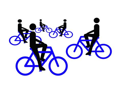 velocipede: Silhouette of bicycles on road