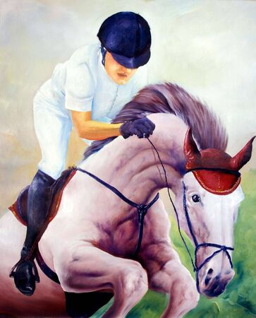 to exist: Jockey oil painting - I am author of this image, person is not exist