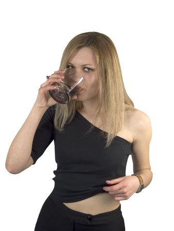 drunkenness: Drink blondie girl Stock Photo