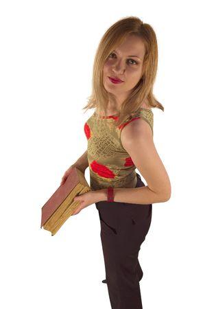 capri pants: School girl with book Stock Photo