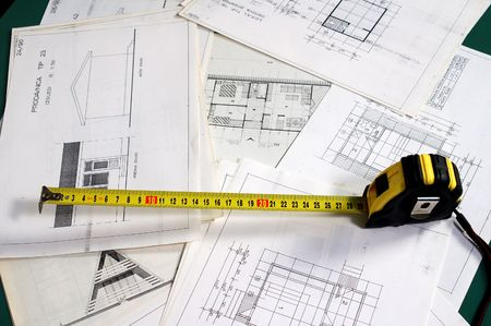 Arch planning with dimensions and metre - focus on start of metre Stock Photo