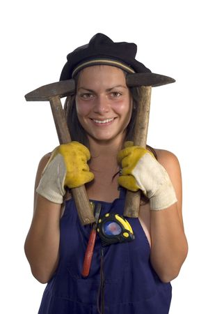 casualy: Craft girl with a hammer and gloves Stock Photo