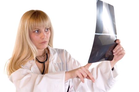 roentgenograph: Young doctor holding and make analysis x-ray roentgen Stock Photo