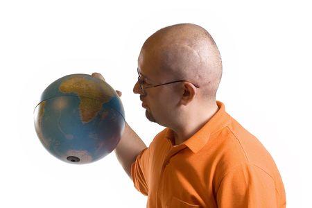 Man holding globe of world on white backgrounds photo